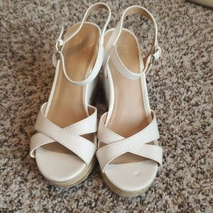 Ivory wedge sandals size 6
